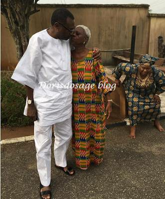 Femi Otedola kissing his mother on the lips