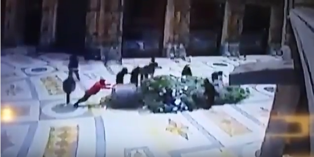 Migrants Destroy Christmas Tree In Italy caught on CCTV (Video)